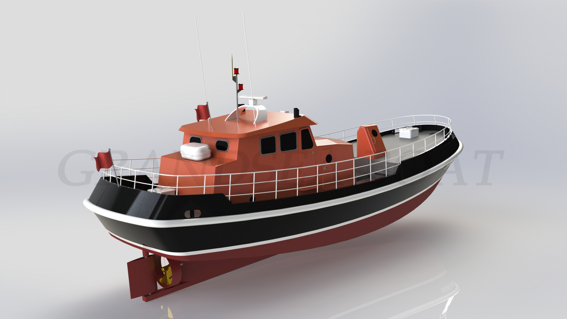Grandsea 16.5m/78ft Fiberglass Hull Deep Sea Stern Trawler Commercial Fishing Boat/ship/vessel for Sale